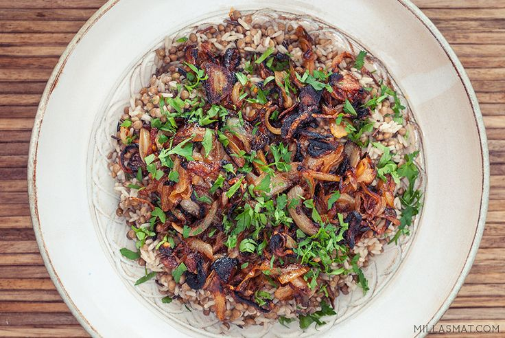 Mujadarra - linser og ris med karamellisert løk   Millas Mat
