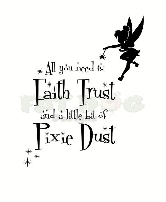 Kids Wall Art Picture Fairy Print Peter Pan Quote Faith Trust /& Pixie Dust