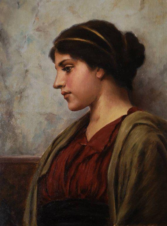 Godward Mastercopy Head Of A Greek Woman Oilpainting Small Etsy John William Godward Greek Women Portrait Painting