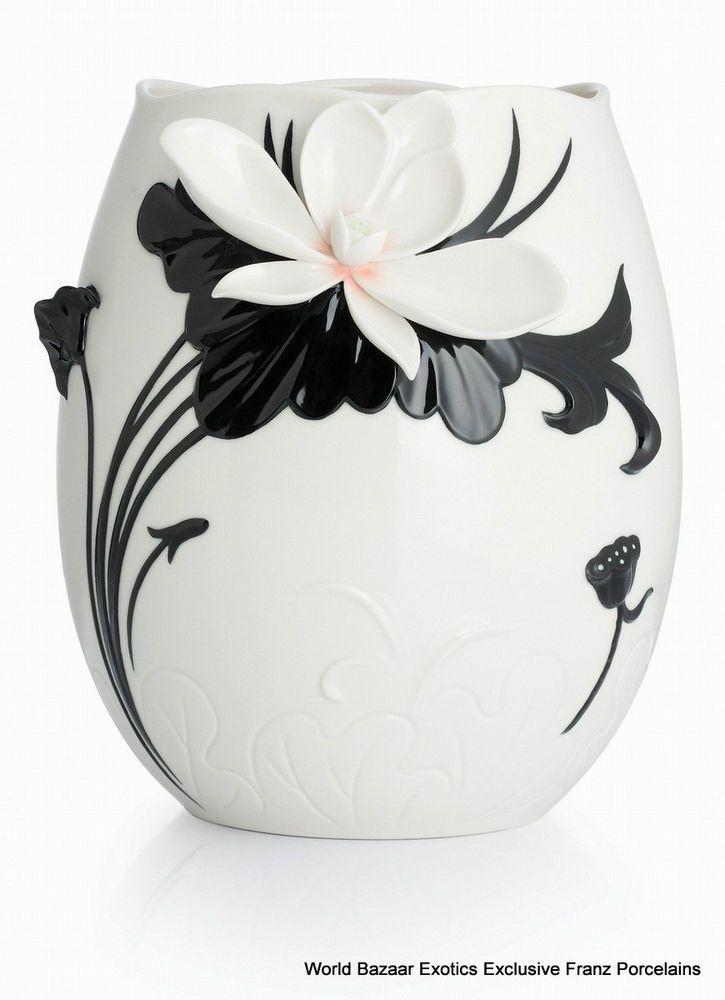 CP00044 Love Ya lotus Franz Porcelain L Vase Flower Design Black White Exclusive