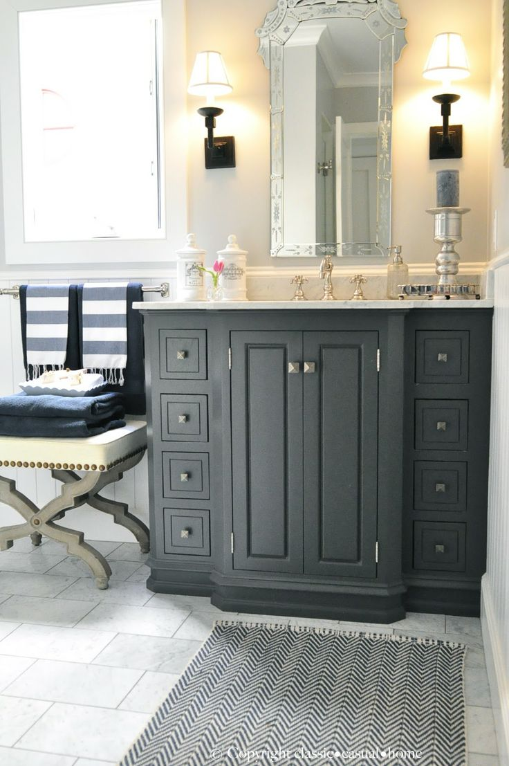 Weave pattern honed in a mesh on unfinished furniture bathroom vanity - Orc Finale Blue White Guest Room
