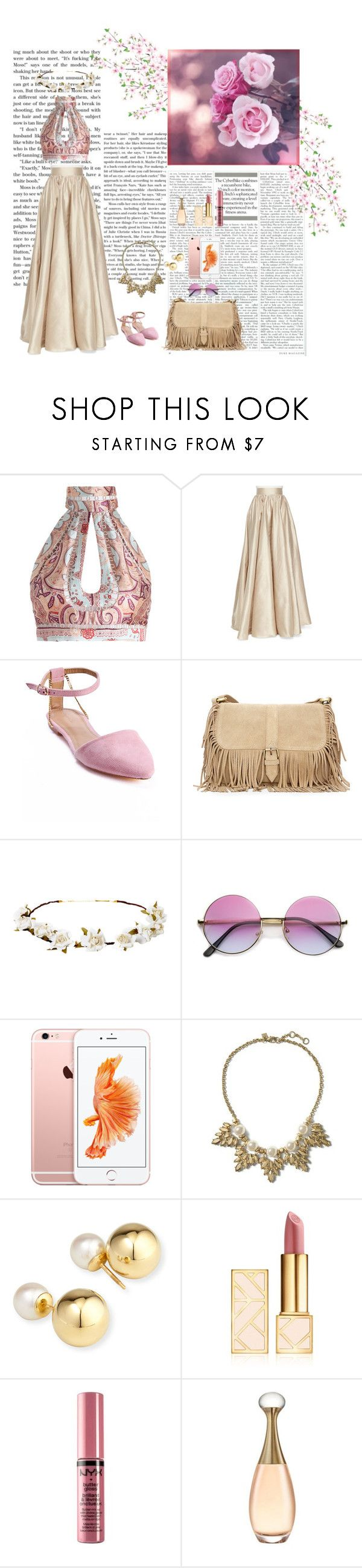 """pink boho"" by karolinakaroo ❤ liked on Polyvore featuring Zimmermann, Jenny Packham, Sergio Bari, Cult Gaia, Banana Republic, Yoko London, Tory Burch and NYX"