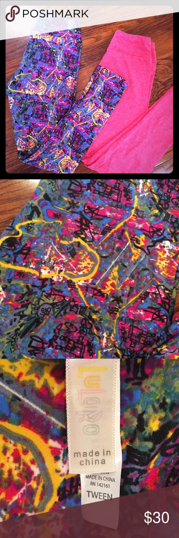 ✨JUST IN✨LulaRoe Tween Set I have worn these two cute LulaRoe maybe twice each. No signs of use. Washed twice. Selling the pair together, but open to offers if buying separately. LuLaRoe Pants Leggings