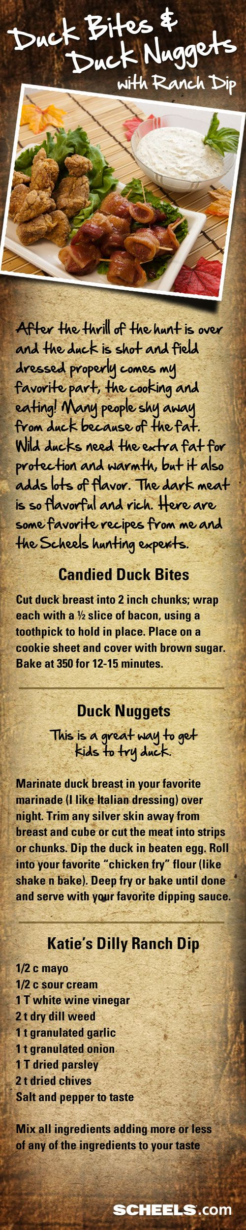 Here are some great tasting duck recipes that will have your family and friends craving more! // Recipe from #Scheels Gramma Ginna's Deli. #waterfowl #recipes