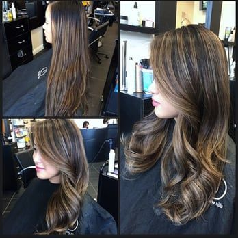 Foil highlights to Balayage highlight transition and long layer haircut. - Yelp