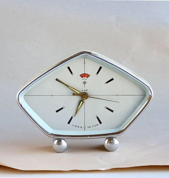 Vintage desk clock Old alarm clock Wind up clock Chinese table clock  Mechanical clock Geometric Polaris