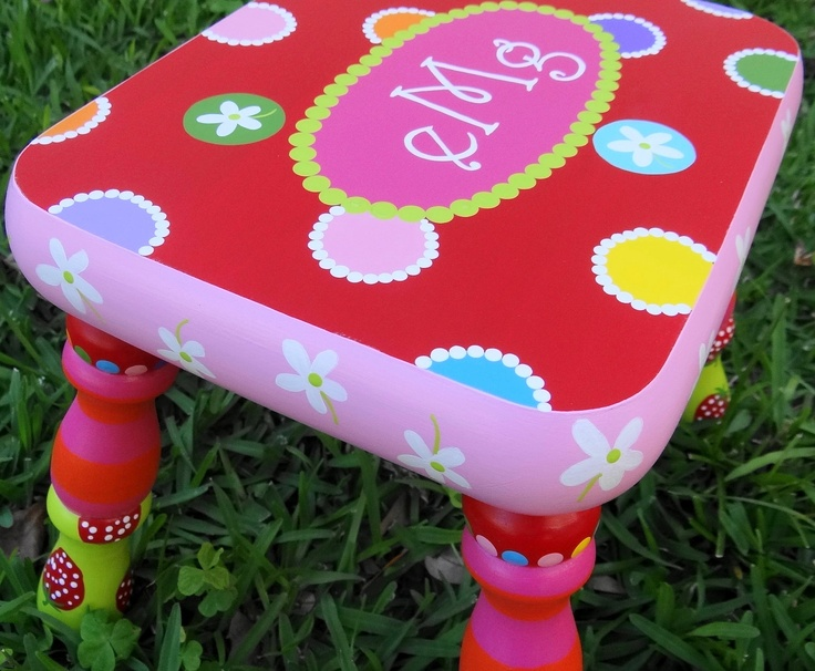 A Custom Painted Foot Stool Just For You FREE SHIPPING. $85.00 via Etsy. & 51 best Childrens stools images on Pinterest | Step stools ... islam-shia.org