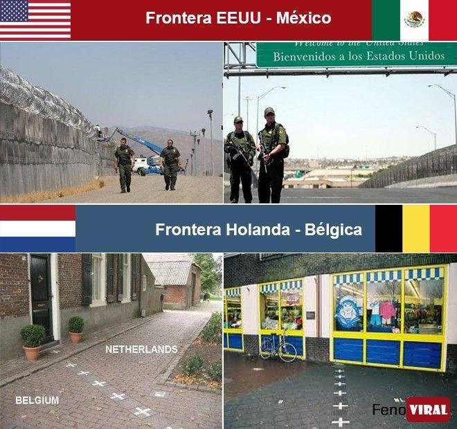 Fronteras. EEUU - México y Holanda - Bélgica.. Un poco diferentes