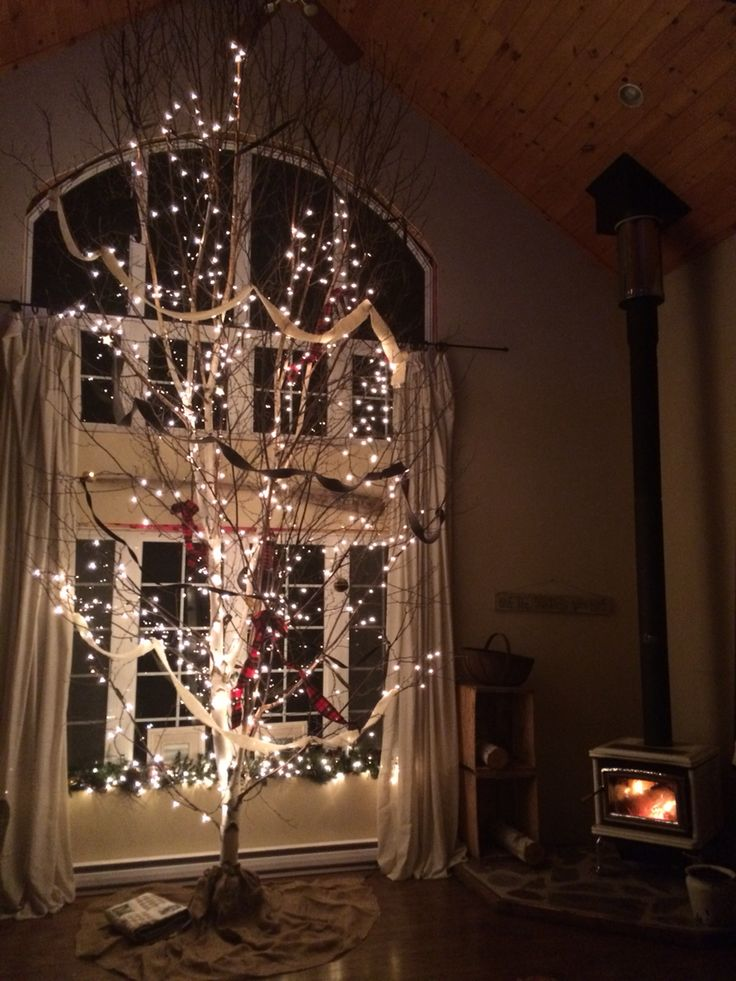 "Welcoming my 19 foot white birch. ""Old Winter Victorian"" theme 2014"