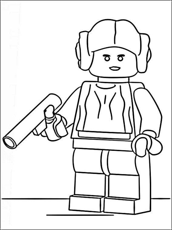 Princess Leia Lego Star Wars Coloring Pages Chewbacca Warna Darth Vader