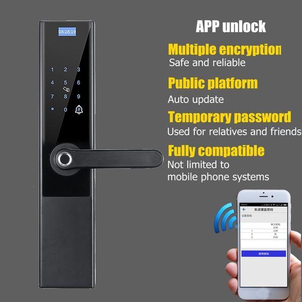 5 In 1 Security Universal Optical Fingerprint Smart Door Lock Anti Theft Lock Support App Unlock Fingerprint Password Swipe Key Unlock For 40 110mm Thickness Do Smart Door Locks Door Lock Installation Kit Fingerprint Lock