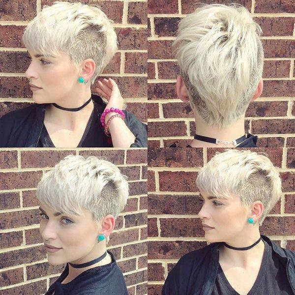 Shaved Side Long Bangs Beautiful Short Hair For Girls Short Blonde Hair Hair Styles Short Hair Styles