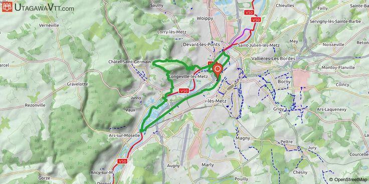 [Moselle] Mont Saint Quentin par le canal En partant de Saint-Symphorien, on rejoint le canal vers Jou-aux-Arches. Puis remontée vers le Mont Saint Quentin par Scy-Chazelles.  Tour du Mont, descente vers Metz et retour par la Moselle, le Saulcy, le plan d'eau.