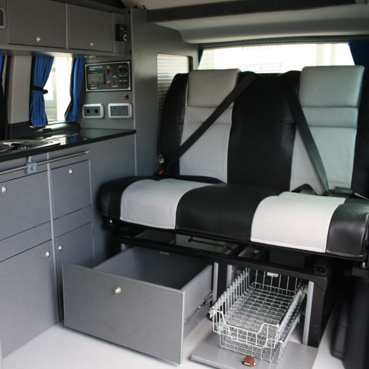 VW T5 Campervan Conversion, Smev 9222, Waeco CR-50 cool idea for under seat storage