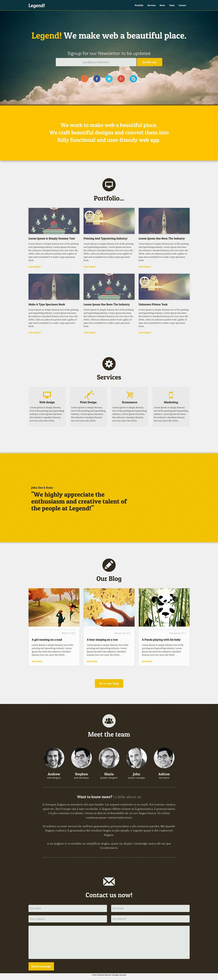 Legend: Free Responsive One Page Bootstrap Template