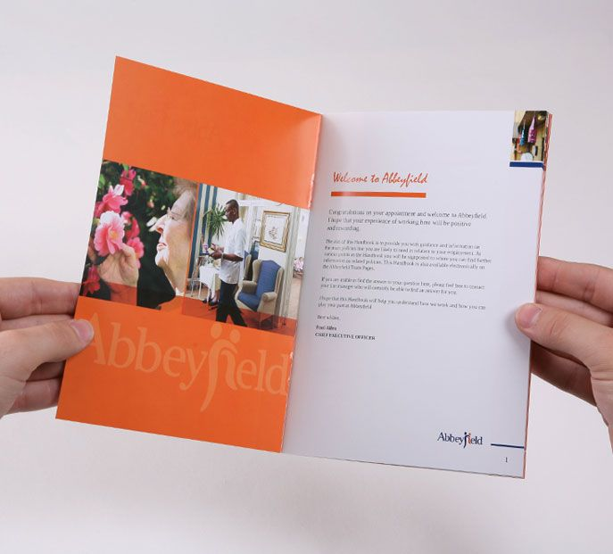 Color inside cover employee handbook design pinterest for Employee handbook cover design template