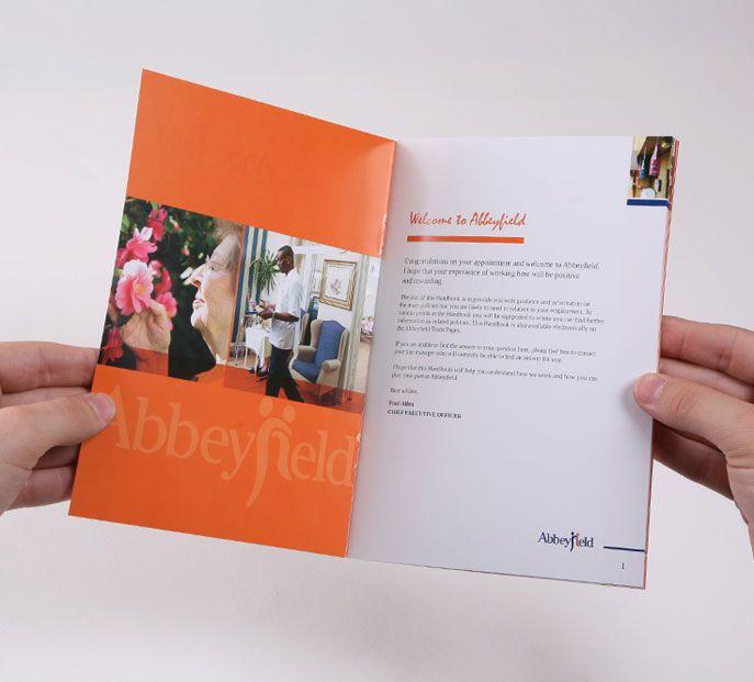 Color inside cover employee handbook design pinterest for Employee handbook cover design template