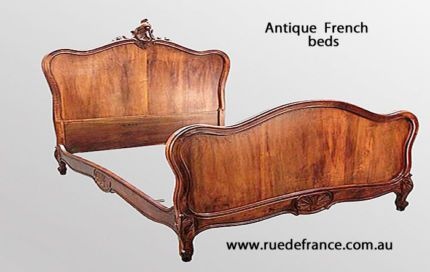 ANTIQUE FRENCH CARVED WALNUT DOUBLE BED -- LOUIS XV STYLE