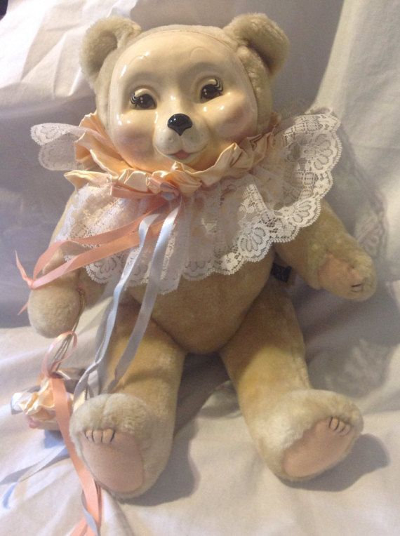 Vintage Lorelei porcelain face bear by Just Ducky