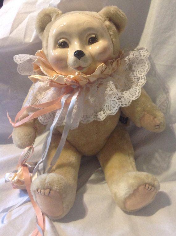 Vintage Lorelei porcelain face bear by Just Ducky