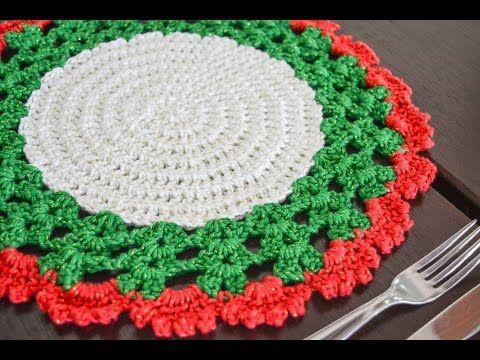 Aprendiz de Crocheteiras: Vídeo: Sousplat de Natal em Crocê