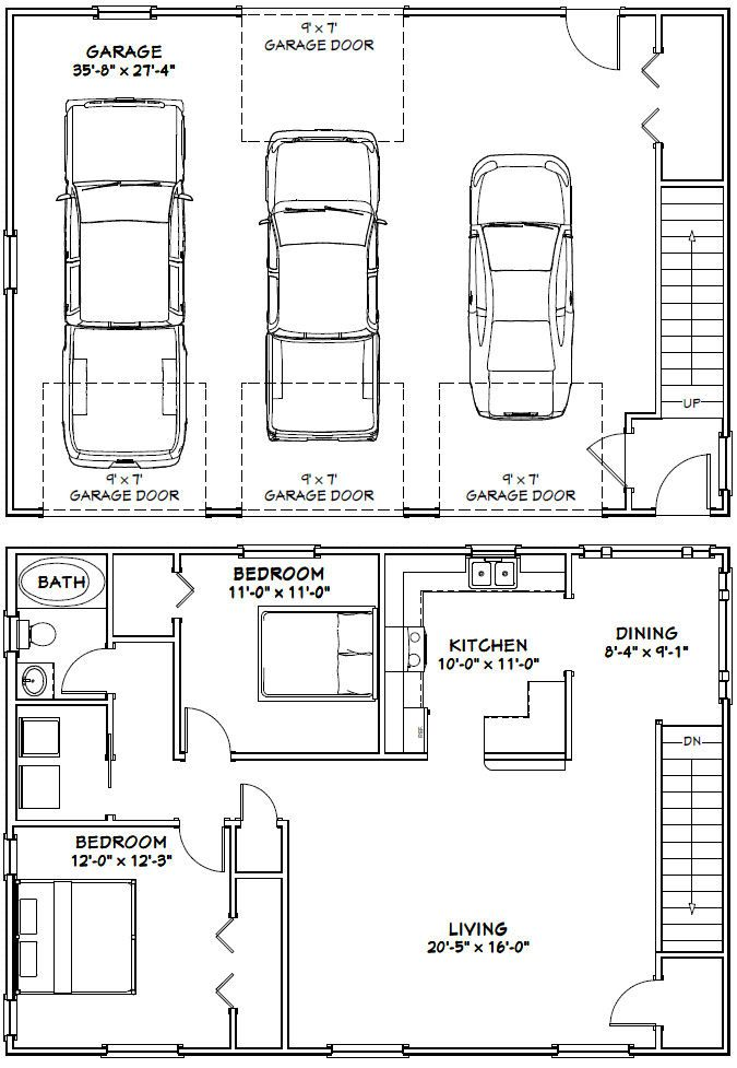 25 best ideas about garage house on pinterest overhead Small house plans with 3 car garage