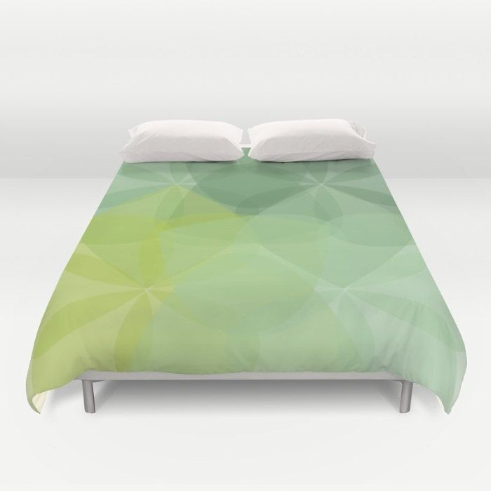 Green Duvet Cover - Modern Duvet Cover - Geometric Flower Duvet Cover - Queen Size Duvet Cover - King Size Duvet Cover by AldariHome on Etsy