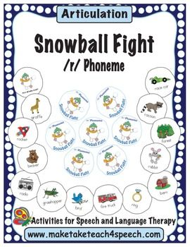 Who said you can't have a snowball fight at school?  Your students will love practicing the /r/ sound with the Make, Take & Teach 4 Speech Snowball Fight Game.  When you download this activity you'll receive 116 snowballs with pictures containing the /r/ phoneme in all word positions and in blends.