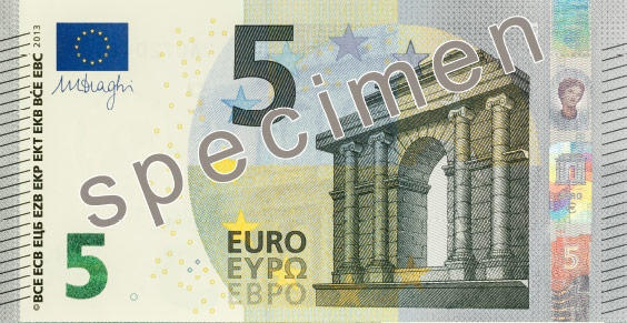 The new note will circulate alongside the existing €5 note which is still legal tender here and across the 17-member eurozone...