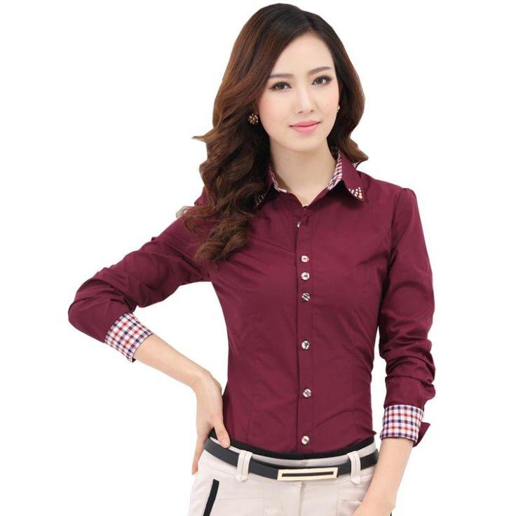 Spring patchwork 2014 long-sleeve shirt female Large size shirt professional women's  fashion Autumn Occupation blouse clothing