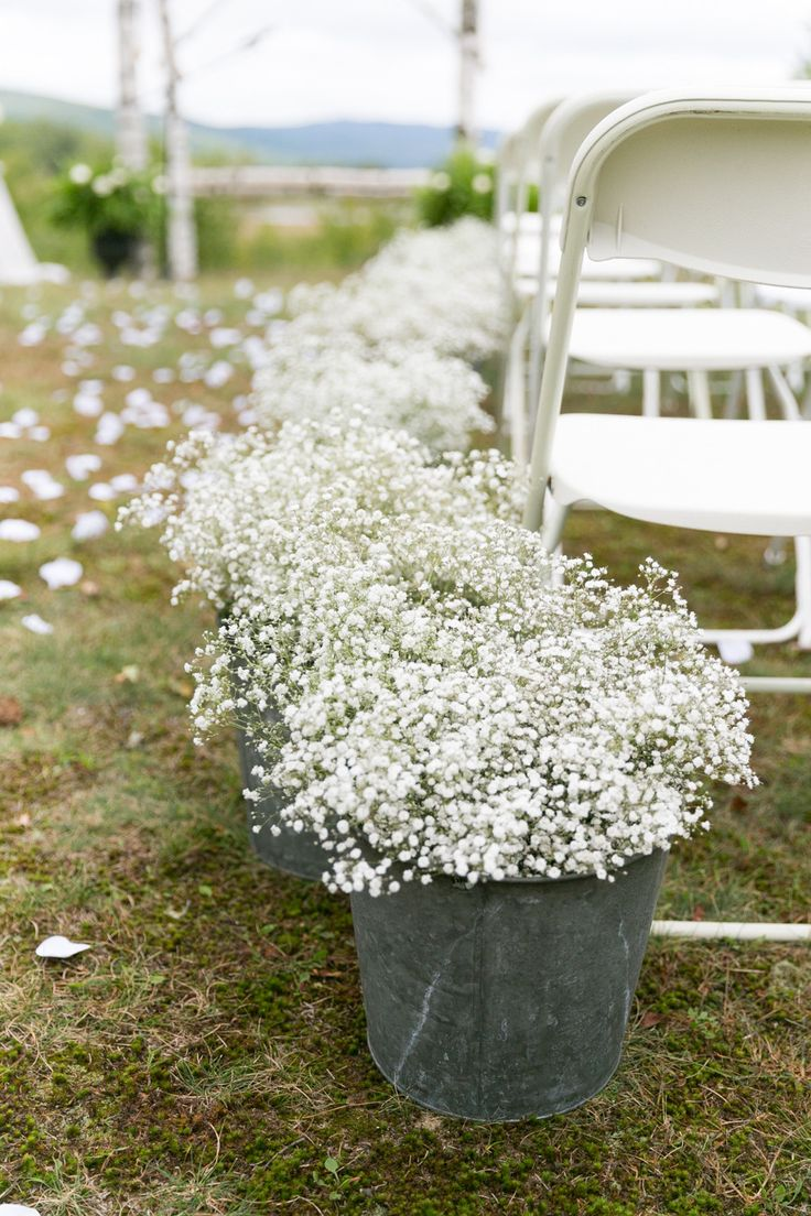 Baby´s Breath + Zinc = Aisle decoration - Newfound Lake Wedding from Kelsey DeWitt Photography
