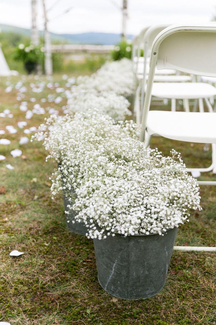 Baby´s Breath + Zinc = Aisle decoration - Newfound Lake Wedding from Kelsey DeWitt Photography