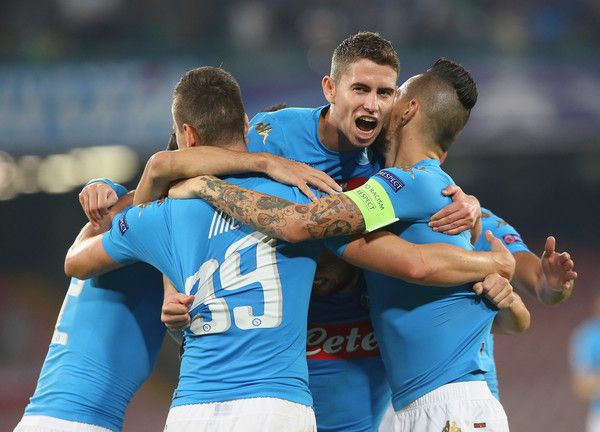 Players of Napoli celebrate during the UEFA Champions League match between SSC Napoli and Benfica at Stadio San Paolo on September 28, 2016 in Naples, .