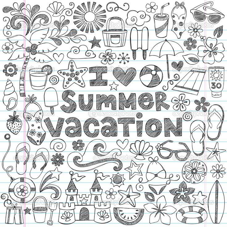 Adoro ilustração de doodles-vector verão férias caderno esboçado tropical havaiano desenhados à mão - Ilustração Stock: 31489185