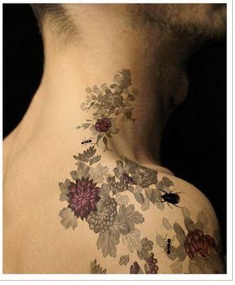 two tone tattoo: Tattoo Pattern, Neck Tattoo, Flower Tattoos, A Tattoo, Tattoo Design, Shoulder Tattoo, Design Tattoo, Floral Tattoo, Purple Flower