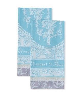 50% OFF Garnier-Thiebaut Set of 2 Bouquet de Roses Kitchen Towels, Lunaire
