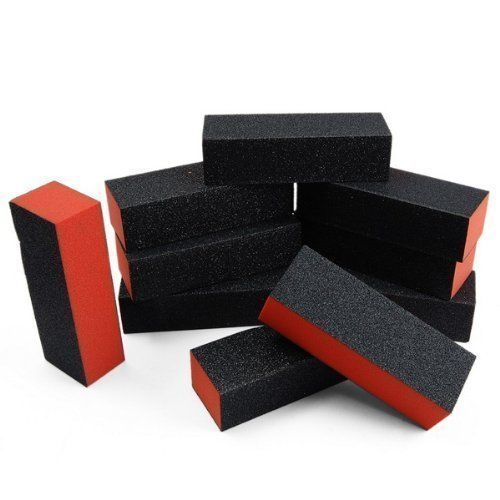 10pcs black nail art buffer sanding block files gel by HongNuo. $0.94. 10 pieces Nail Filing Sanding Blocks. Product Details: 100% Brand new in retail package. 10 pieces Nail Filing Sanding Blocks. 3-sided, convenience for use! Top quality sanding blocks. A handy little nail art tool to buff and shape up uneven nail surface before UV gel and acrylic application. Suitable for home use or professional use.
