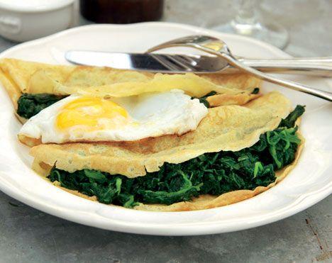 Pandekager med spinat og æg
