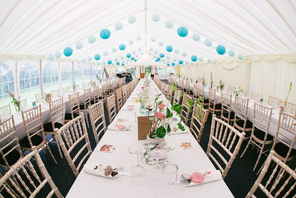 Country Garden Camping Marquee Wedding Decor Lanterns Long Tables http://www.chebirchhayesphotography.com/