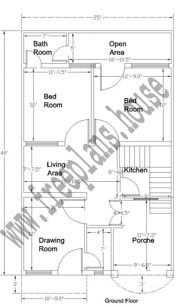 25x40 Ground Floor Plan