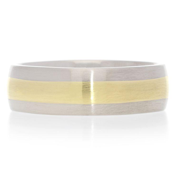 18K Yellow Gold and Titanium Half Round Wedding Band For Sale by Uwe Koetter.    www.uwekoetter.com