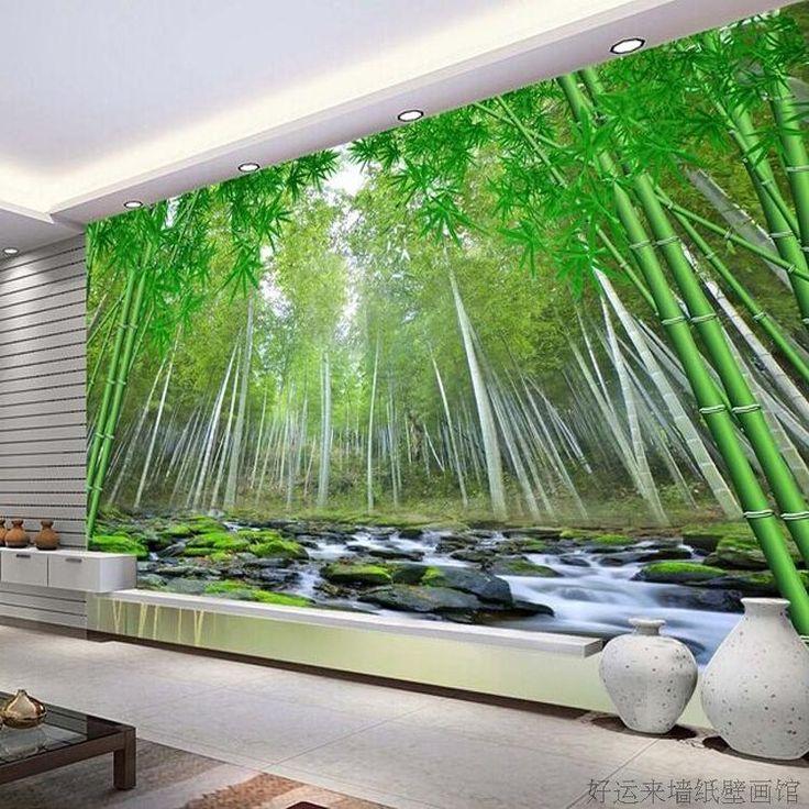 envo gratis por encargo verde bamb grande de papel tapiz mural paisaje pared del ajuste de