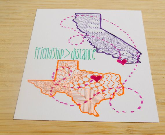Custom gift. Perfect for that going away party! Any two states (or more.)! Hand Drawn. Each one a unique and different memento of friendship.  #friend…