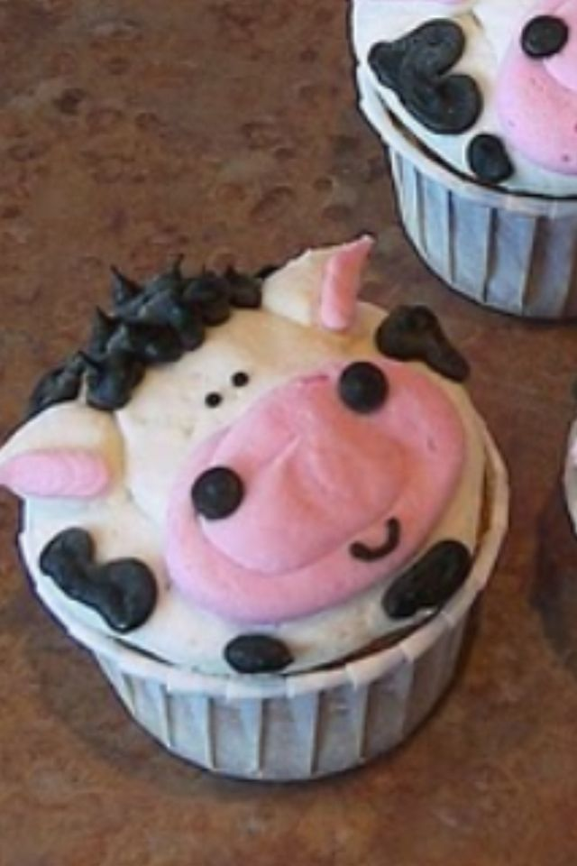 Awesome buttercream cow cupcakes.