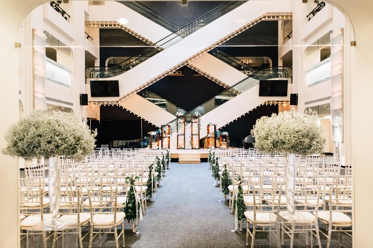 The Jack Singer Concert Hall lobby at Arts Commons, ready for Jacquelyn and Bradley's Wedding.  Credit: Heart Sparrow Photography