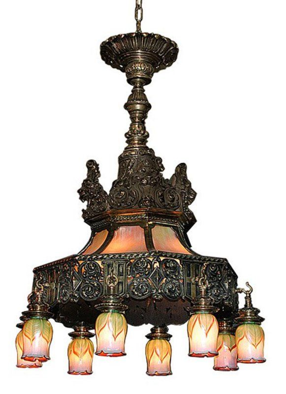 A spectacular Victorian bronze chandelier.
