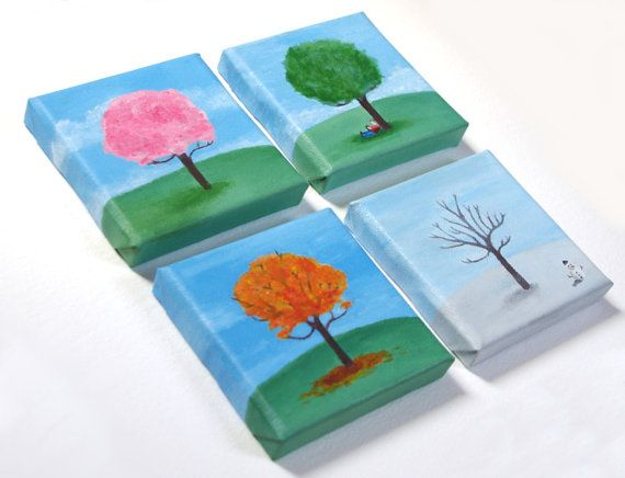 Four Seasons Tree Mini Canvas Paintings by CuteCanvasCo on Etsy, £40.00