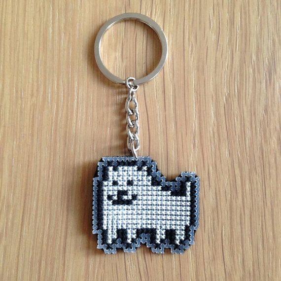 Annoying Dog Keychain, Magnet, Undertale Keychain, Cross Stitched Keychain, Keyring, Charm, Cute Dog, Video Game Gift, Undertale Gift