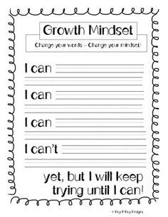 """This product is great for teaching about growth mindset. I used in conjuction with the book """"The Dot"""" by Peter H. Reynolds and discussed with my students how changing something as simple as our words could change our whole outlook on things and ensure that we stay life-long learners."""