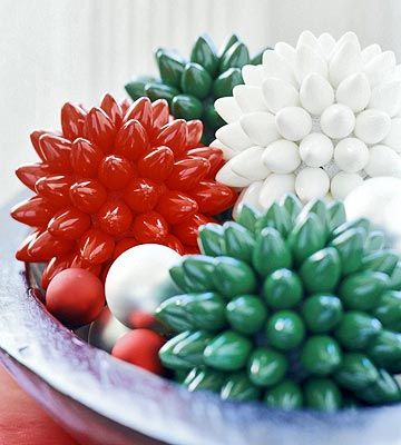 Up-cycled Christmas Light Decorative Balls. Supplies: Burnt out Christmas lights, foam sphere,